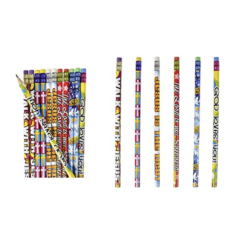 2 Dozen (24) Religious Pencils - Pencils #2 Lead - Classroom Rewards Teacher VBS Education Jesus GOD Loves Me