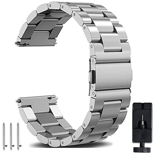 OTOPO Armband Kompatibel mit Galaxy Watch Active 2 40mm 44mm Armband Metall Frauen Männer, 20mm Metallarmband Armband Edelstahl Uhrenarmband für Samsung Galaxy Watch Active 2 Smartwatch -Silber