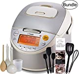 Tiger Corporation Bundle Includes: 1 x Tiger JKT-B10U-C (5.5 Cups Uncooked/11 Cups Cooked) Stainless Steel Rice Cooker - Made in Japan, Beige 8 computerized cooking menus including brown rice and porridge settings. 1.5mm Inner pan with grip handle fo...