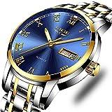 Relojes para hombre, de acero inoxidable azul, luminoso, analógico, de cuarzo, de moda, informal, de negocios, de color plateado, impermeable, 30 m, reloj informal, Moda Casual Business Dress Clásico, Acero Aablack, M