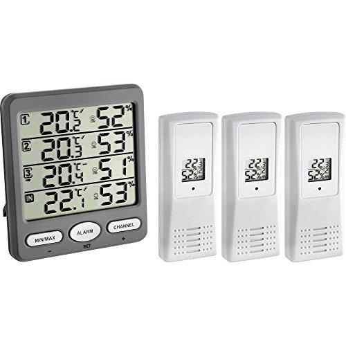 TFA Dostmann Klima-Monitor Funk-Thermo-Hygrometer mit 3 Sendern, Kunststoff, Grau, L130 x B70 x H185 mm