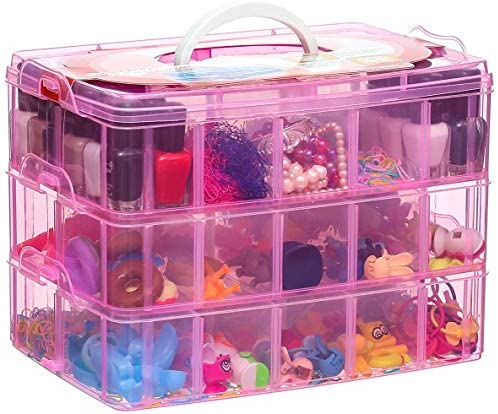 Sooyee Stackable Storage Container with Handle 3 Layer 30 Adjustable Compartments for Organizing product image