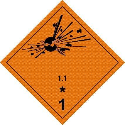 Gefahrgutschild aus Kunststoff - Explosive Stoffe - Unterklasse 1.1 - 30 x 30 cm