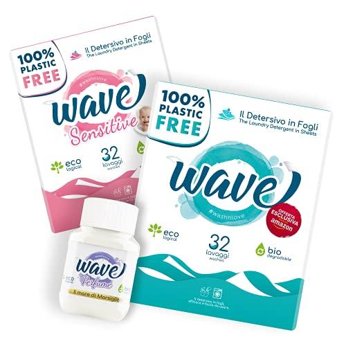 Wave Washing Family Box – El Detergente en Hojas – 100% LIBRE DE PLÁSTICO – 64 lavados – Classic & Sensitive + Wave Perfume – Ecológico – Biodegradable – Compostable