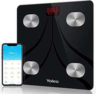Body Fat Scale - Yoleo Smart Scale Bathroom Bluetooth Weight Scale with 13 Body Analyzer for Fat, BMI, BMR, Muscle Mass, Water Unlimited Users Wireless iOS Android APP