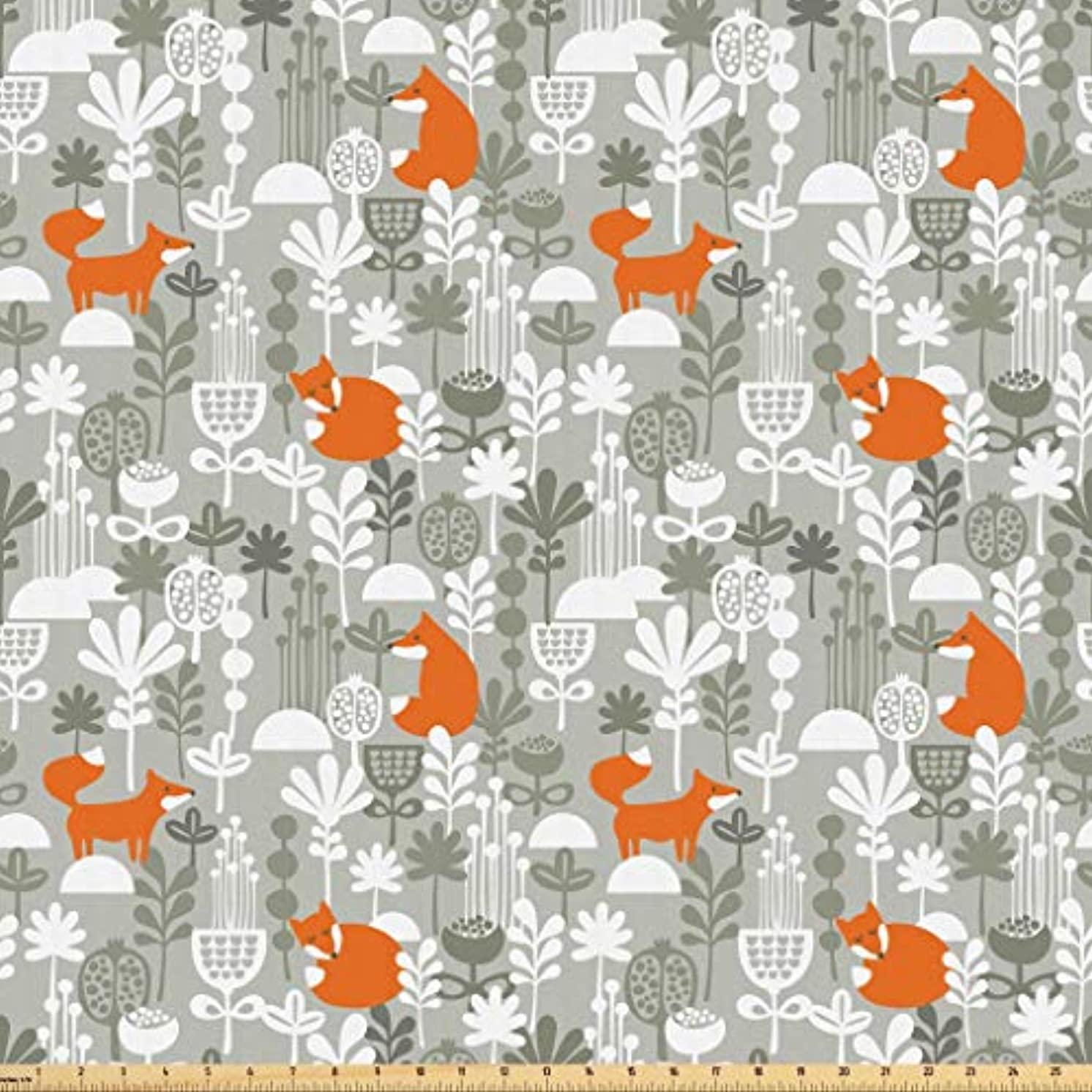 Lunarable Autumn Fall Fabric by The Yard, Cute Fox Animal Sleeping in The Forest Plants Woodland Wildlife Theme, Microfiber Fabric for Arts and Crafts Textiles & Decor, 1 Yard, Orange Grey White