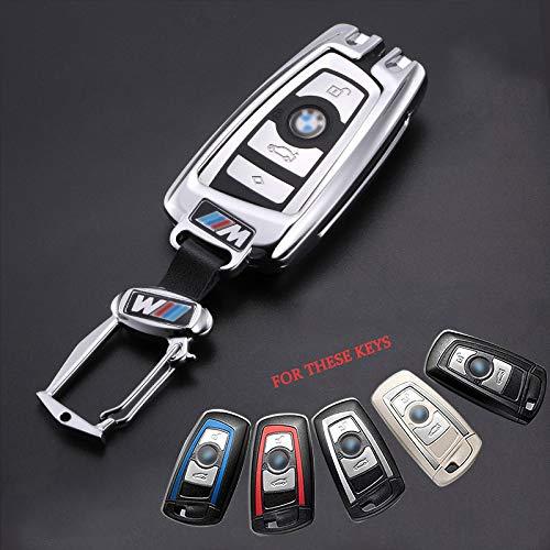 ZYYSK Für Auto Styling autoschlüssel case Abdeckung fob schlüsselanhänger für BMW 520 525 f30 f10 f18 118i 320i für BMW x3 x4 m3 m4 m5 e34 e90 e60 e36 Shell,Silver with Buckle