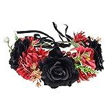 Vividsun Day of The Dead Flower Headband Rose Flower Crown Headpiece (red black)