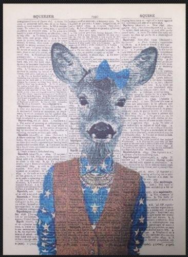 Parksmoonprints Affiche de dictionnaire vintage Motif dame de cerf
