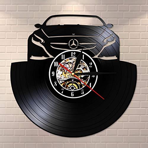 LIMN Reloj de Pared con Registro de Vinilo de Cuarzo silencioso para automóvil, Reloj con iluminación LED, Reloj Hecho a Mano, Idea Hombre