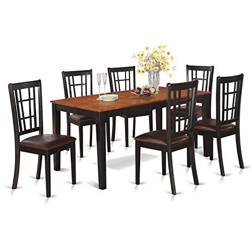 NICO7-BLK-LC 7 PC Dining room set-Dining Table with Leaf and 6 Kitchen Chairs