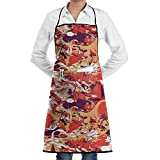 Kitchen Bib Apron Neck Waist Tie Center Kangaroo Pocket Bamboo Cartoon Style Waterproof