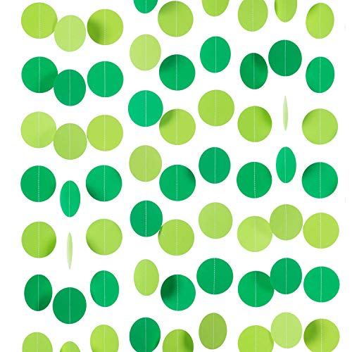 """WEVEN Green Paper Garland Circle Dot Party Banner Streamer Backdrop Hanging Decorations, 2.5"""" in Diameter, 20 Feet in Total"""