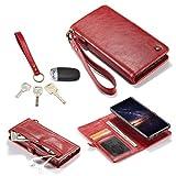 Wangqianli For Samsung Nota 9 Portafoglio copertura del cuoio di vibrazione Portafogli Zipper il portafoglio di copertura staccabile della cassa del telefono Cash Pocket antiurto corpo protezione magn