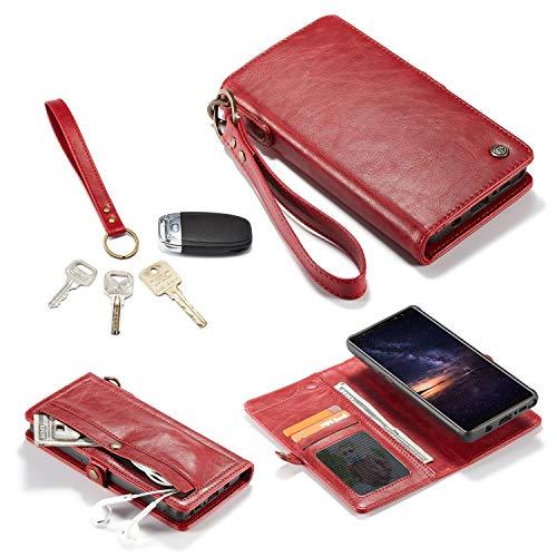 Caja del teléfono For Samsung Nota 9 Monedero cubierta (femenino / masculino) 6-8 clips, 2 Carteras, del tirón del cuero de la cremallera Monedero de la cubierta desmontable, caja del teléfono de bols
