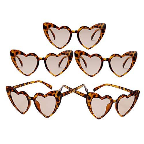 Colcolo 5X Gafas de Sol con Montura de Corazón Gafas de Sol Leopard Summer UV400