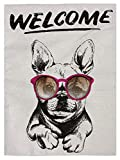 pingpi Welcome French Bulldog Wearing The Sunglasses Double Sided Burlap Garden Flag 12.5