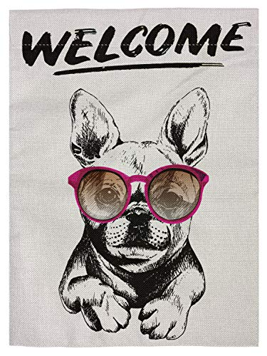 pingpi Welcome French Bulldog Wearing The Sunglasses Double Sided Burlap Garden Flag 12.5'x18'