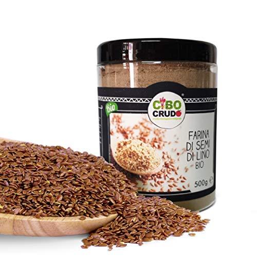 CiboCrudo Farina di Semi di Lino Cruda Bio, Naturalmente Priva di Glutine, Qualità Austriaca, per Ricette Salate e Dolci, Macinati a Bassa Temperatura, Contiene Omega3 – 500 gr