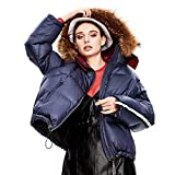 女性の新しいダウンジャケット、反射ストリップフード付きの毛皮の襟短いセクションのプロフィールトレンドフグキルト冬のダウンジャケット,紫色,L