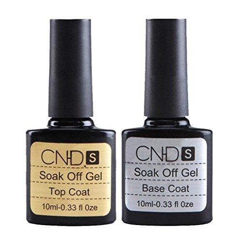 Coolster 2PCs Maniküre Farblack Nagellack Top Coat + Base Coat Abdeckung Langlebig UV Nail Gel (Klar)
