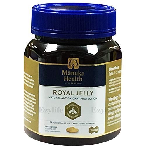 Manuka Health 10hda Royal Jelly 1000mg 180 & 365 Capsules 100% Pure Royal Jelly Immune System Booster & Supports Skin Health & Vitality (365)