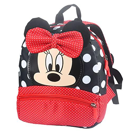 FGen Mochila Minnie,Mochila Minnie Mouse Infantil, Mochila Disney, Mochila Escolar para Niños, para Niños y Niñas de 2 a 8 Años Mochila Guarderia (Minnie roja)
