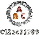 IVEOPPE Formine per Biscotti,Set da 36 Stampi Forme Lettere & Numeri, Biscotti in Acciaio Nossidabile Taglio di Frutta Strumenti di Cottura