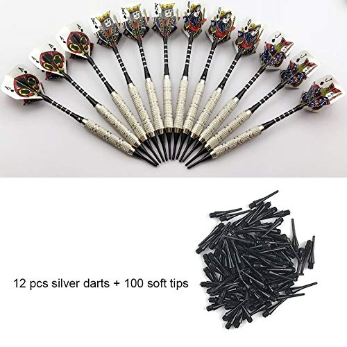 Best Review Of soft darts set Poker 12pcs Professional With 100 Extra Soft Tips Set Silver Needle Re...