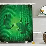 N/X DuschvorhangTier Duschvorhang Frosch Schatten Silhouette auf dem Bananenbaumblatt in tropischen Ländern Dschungel Licht Spiele Grafik Badezimmer