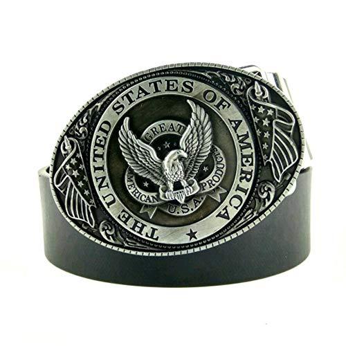WDYDDW Herren Gürtel Schwarzer Ledergürtel Männer Usa Flag Eagle American Metal Buckle Cowboy Jeans