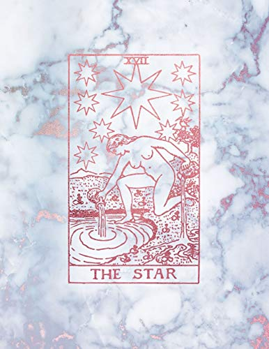 The Star: College Ruled Journal   8.5 x 11 A4 Notebook   Radiant Moon Stone Marble and Rose Gold Tarot Card - 150 College Ruled Lined Pages (Rainbow ... Gold - College Ruled Composition Notebook)