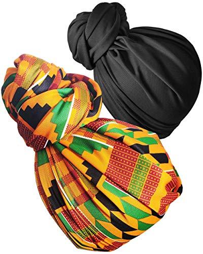 Stretch Head Wrap Scarf Head Wrap for women Turban Wrap Stretch Jersey Long Turban Head Wrap Tie 1 or 2 (19sd black 2601-2)