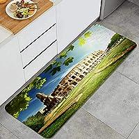 NIKIVIVI キッチンマット 洗える、イタリア、ローマのコロッセオ、ラグ キッチン カーペット 滑り止め 廊下敷き フロアマット、家、オフィス、流し、台所マット 45 x 120