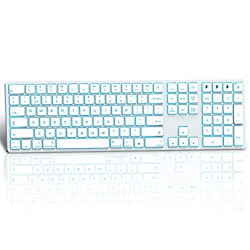 Photo of Jelly Comb Wireless Bluetooth Keyboard, 1 to 3 Devices Backlight Keyboard Qwerty UK Layout for MacBook, iPad,iMac, Mac OS, White and Silver