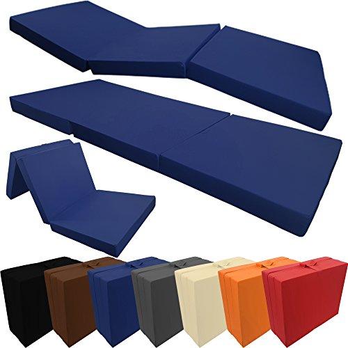 PROHEIM Klappmatratze mit Microfaserbezug viele Größen und Farben wählbar zusammenklappbares Gästebett Faltmatratze faltbares Notbett, Farbe:Dunkelblau, Größe:190 x 60 x 7 cm