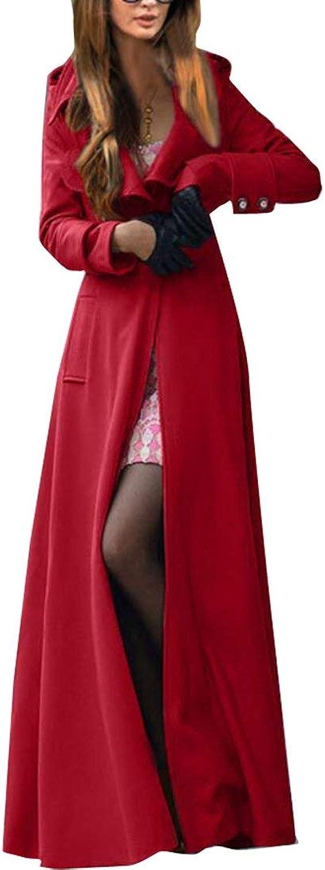 BU2H Women's Outdoor OneButton Solid Plus Size Long Woolen Trench Coat