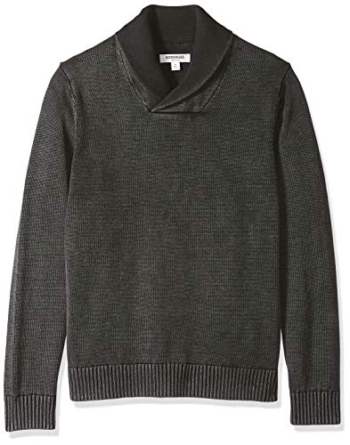Marca Amazon – Goodthreads – Jersey de algodón suave de cuello chal para hombre, Negro (Washed Black Wbk), US XXXL (EU 5XL - 6XL)