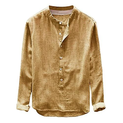 POLPqeD Suelta Long-Sleeve Linen Cotton Shirt Button-Down-Shirts Hombre Cuello Redondo Primavera Otoño Azul Marino/Gris/Amarillo/Caqui/Verde Talla Grande Blusas Camisas CóModo Transpirable L-XXXXL