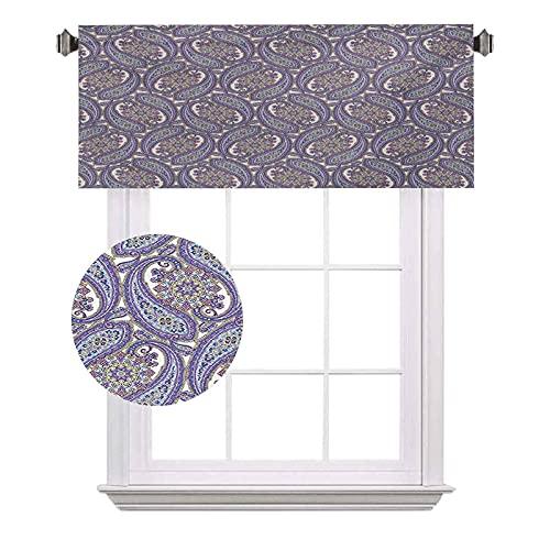Paisley - Cenefas de bolsillo para barra opaca con diseño floral tribal con forma de gotas de lluvia, impermeable y lavable, para ventana pequeña, 120 x 45,7 cm, azul y morado