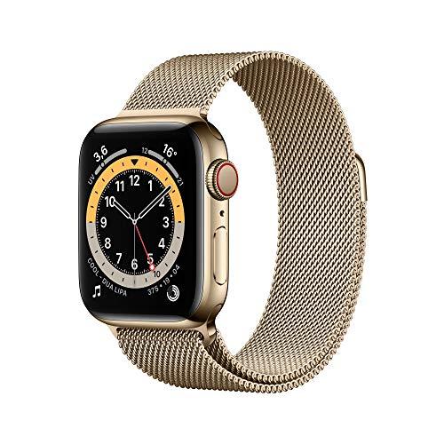 Nouveau AppleWatch Series6 (GPS+Cellular, 40 mm) Boîtier en Acier Inoxydable Or, Bracelet Milanais Or