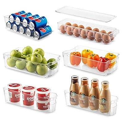 Set Of 6 Refrigerator Organizer Bins - Stackable Fridge Organizers for Freezer, Kitchen, Countertops, Cabinets - Clear Plastic Pantry Storage Racks