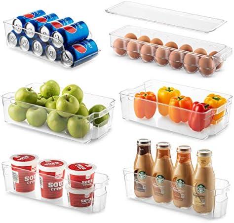 Set Of 6 Refrigerator Organizer Bins Stackable Fridge Organizers for Freezer Kitchen Countertops product image