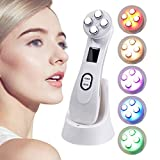 High Frequency Facial Machine, 5 in 1 RF EMS Skin Tightening Electroporation Radio Frequency Nourish Beauty Device LED Photon Anti Aging Skin Rejuvenation Skin Care Tool Anti-Aging,White