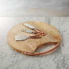 Beck Cheese Board and 3 Copper Cheese Knives Set + Reviews | Crate and Barrel