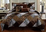 GrandLinen 7 Piece Queen Size Brown Black White Animal Print Safari Comforter Set. Leopard, Zebra, Cheetah Velvet Bedding with Accent Pillows and Bed Skirt