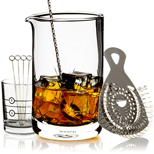 Cork & Mill Cocktail Mixing Glass Set - Old Fashioned Kit - 24 oz (700 ml) Crystal Stirring Glass for Bartending - 9-Piece Bar Accessories and Tools Set with Strainer, Spoon, Jigger, Picks (Silver)