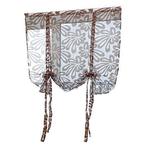 Cortina de ventana romana de poliéster jacquard gasa transparente - café n. ° 3 120x160cm