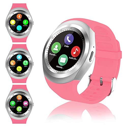 FENHOO Smartwatch SN05 Rotondo Smart Watch con slot per scheda SIM, Touch Screen Contapassi Musica Compatibile con Samsung Huawei Xiaomi Telefoni Android iOS iPhone per Uomo Donna Bambini (Rosa)