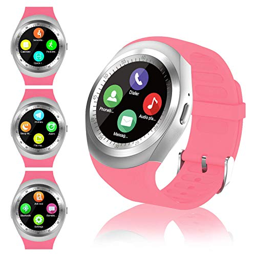 FENHOO Relojes Inteligentes con Soporte de Pantalla táctil, Tarjeta SIM, podómetro, Compatible con teléfonos Android iOS